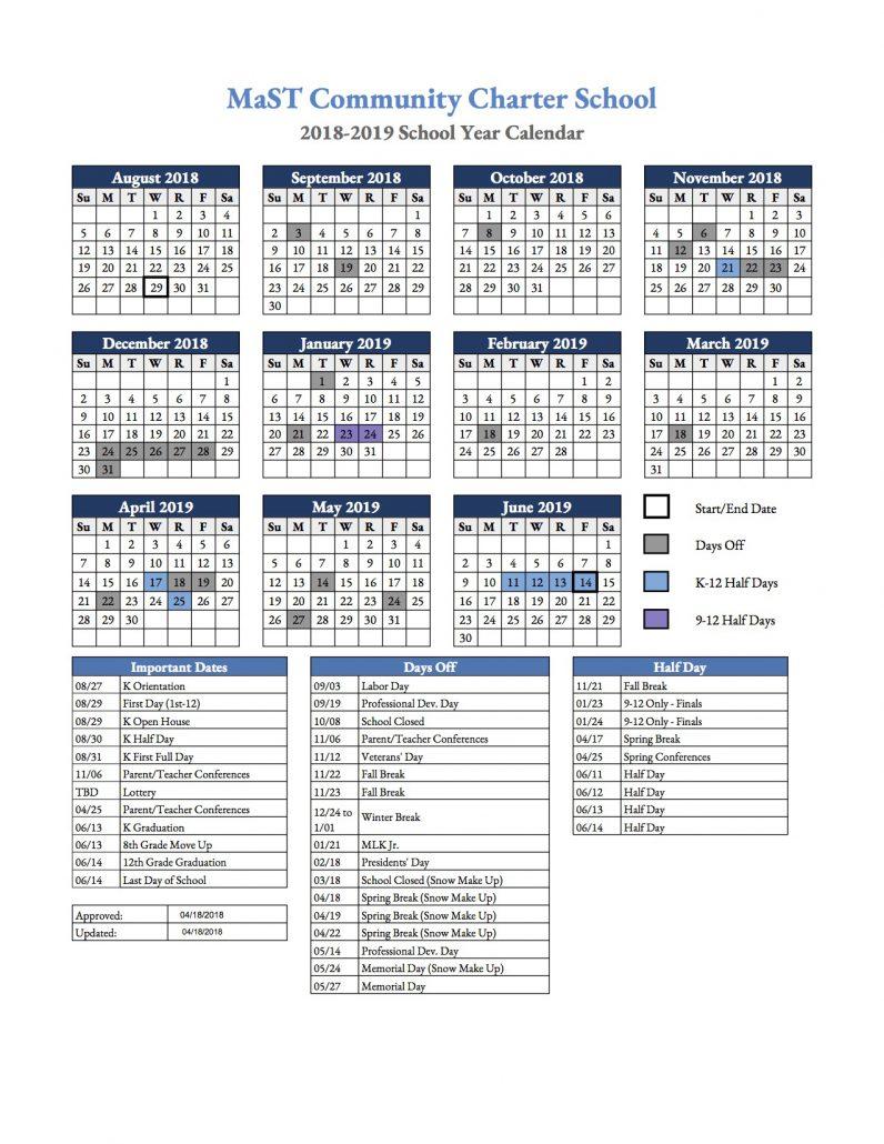 18 19 academic calendars mast